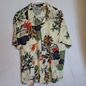 Men's tropical theme buttondown short sleeve shirt